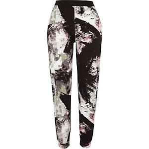Grey abstract print joggers