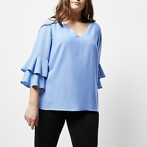 Plus light blue double bell sleeve top
