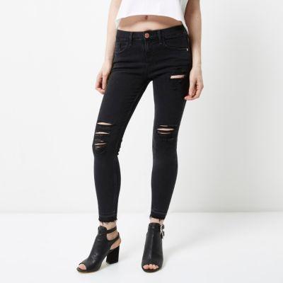 RI Petite Amelie Zwarte ripped superskinny jeans