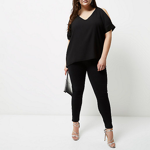 Plus black cold shoulder back split top