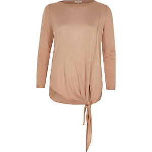 Nude knit tie side top