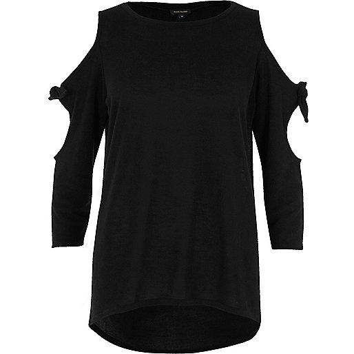Zwarte schouderloze top met strikjes op de mouwen
