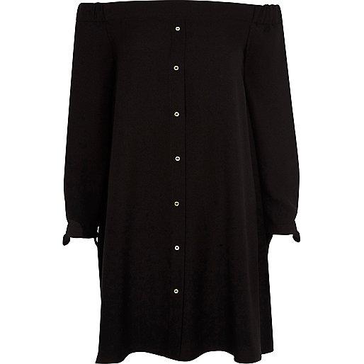 Black bardot swing dress