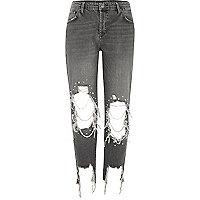 Zwarte washed ripped boyfriend jeans met parels
