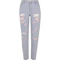 Blauwe denim boyfriend jeans met roze ripped details