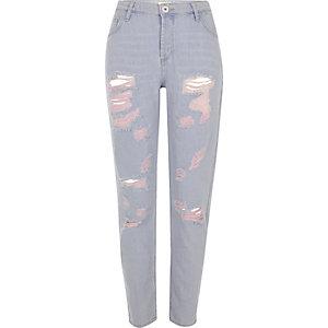 Blaue Boyfriend-Jeans im Used-Look