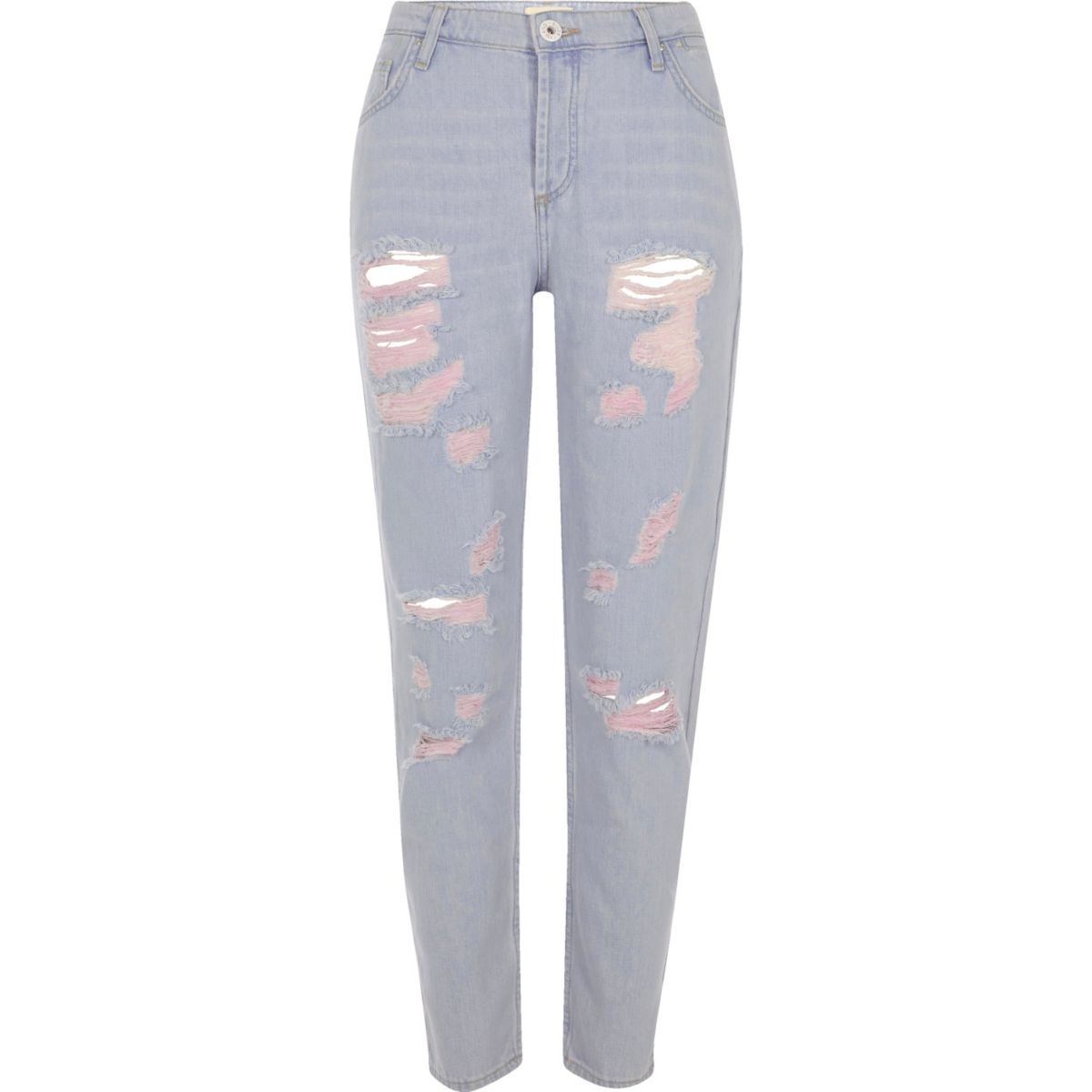 Blue denim pink tint ripped boyfriend jeans
