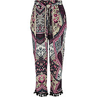 Pink patchwork print tapered pants