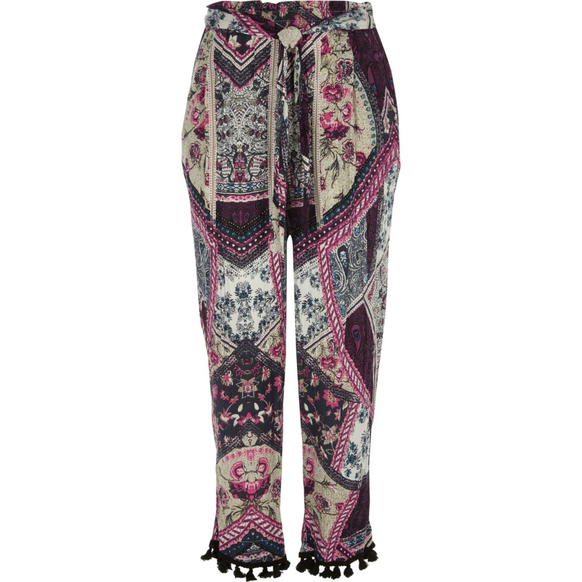 Pink patchwork print tapered trousers
