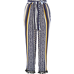 Blue stripe pom pom hem tapered pants