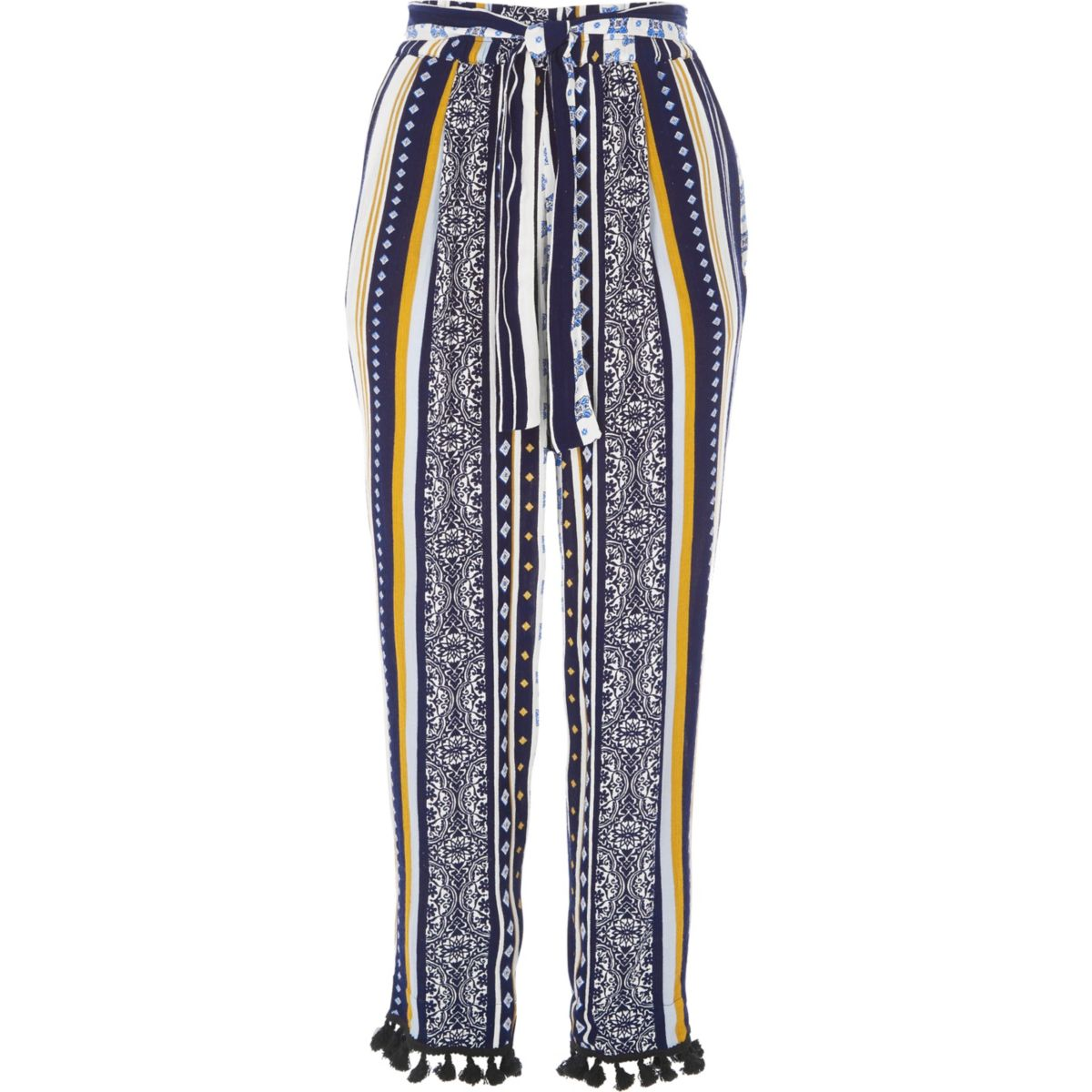 Blue stripe pom pom hem tapered trousers