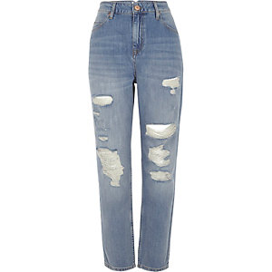 Blue wash Mom ripped relaxed fit jeans
