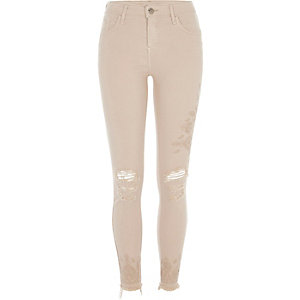Nude ripped embroidered super skinny jeans