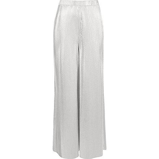 Silver metallic wide leg palazzo trousers