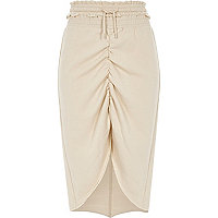 Beige jersey ruched high-low hem skirt
