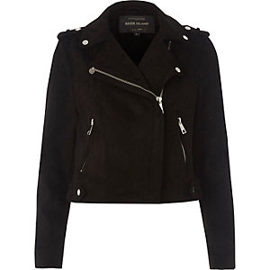 Black faux suede biker jacket