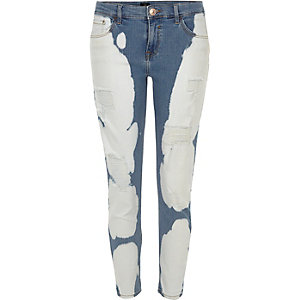 Blue Alannah cow print relaxed skinny jeans