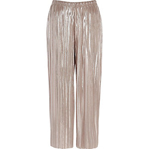Pink metallic plissé culottes