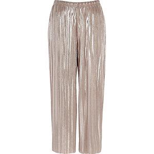 Jupe-culotte rose métallisé plissée