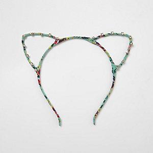 Blue floral print rhinestone cat ears headband