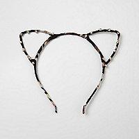 Black print diamante cat ears headband