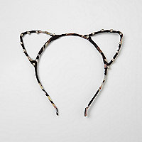 Black print rhinestone cat ears headband