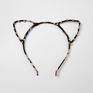Black print diamante cat ears headband