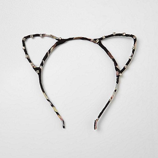 Zwarte haarband met kattenoren, print en siersteentjes