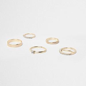 Gold tone rhinestone encrusted ring pack