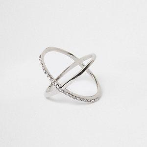 Silver tone diamante cross over ring