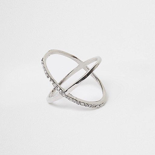 Silver tone rhinestone cross over ring
