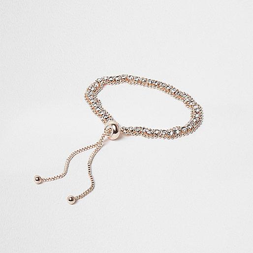 Rose gold tone diamante lariat bracelet