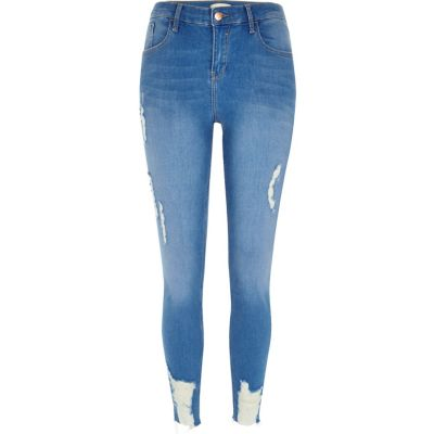 Amelie Blauwe ripped superskinny jeans