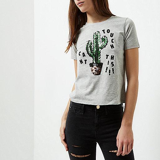 Petite grey cactus sequin print T-shirt