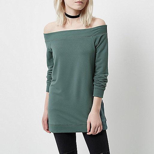 Petite khaki green bardot sweatshirt