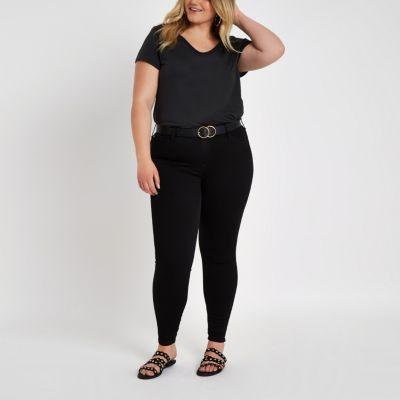 RI Plus Zwart T-shirt met lage hals