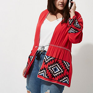 Plus red aztec long sleeve kimono