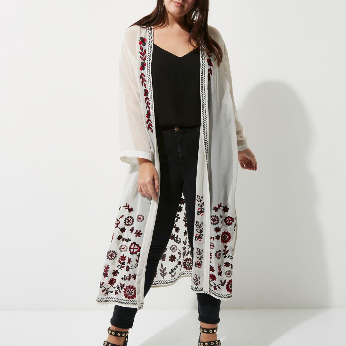 Plus white floral embroidered kimono