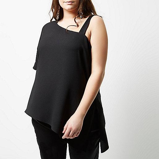 Plus black asymmetric one shoulder top