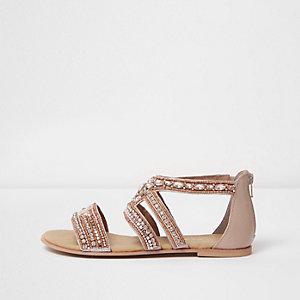 Goudkleurige verfraaide sandalen met bandjes en brede pasvorm
