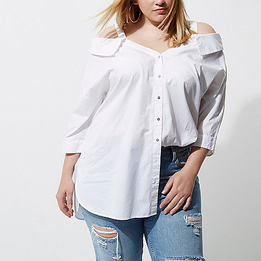 Plus white cold shoulder shirt