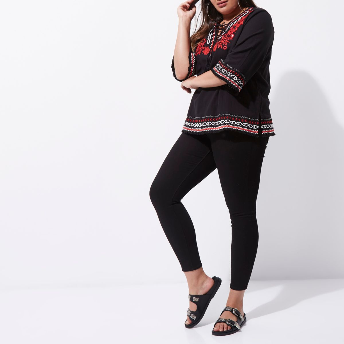 Plus black embroidered smock top