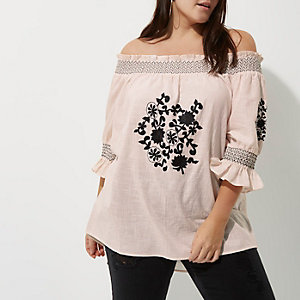 Plus cream embroidered shirred bardot top