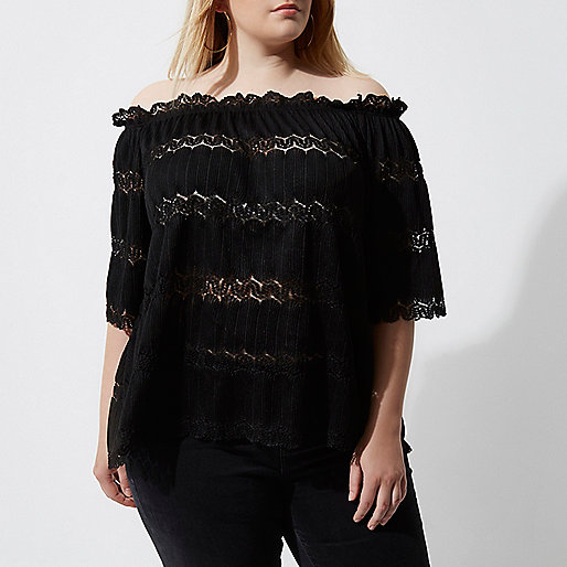 Plus black bardot lace shirred top