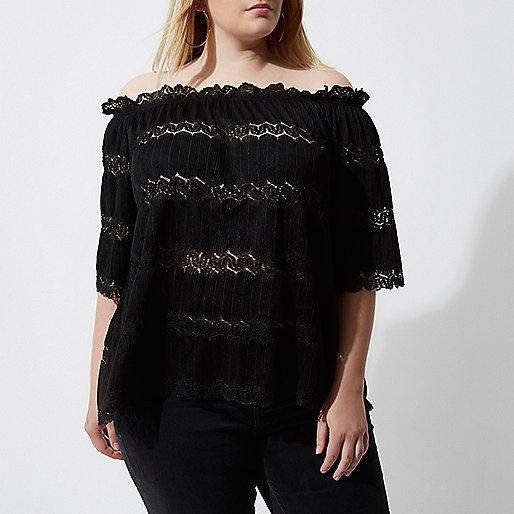 Plus black bardot lace shirred top
