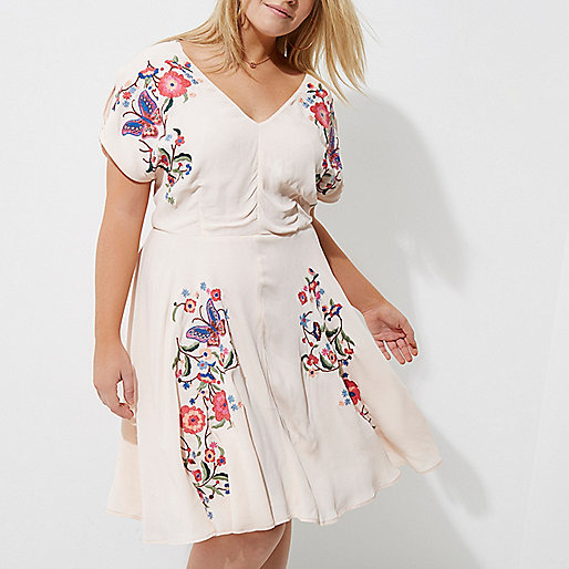 Plus pink floral embroidered tea dress