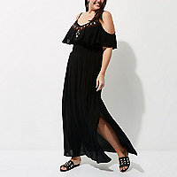 Plus black embroidered maxi dress