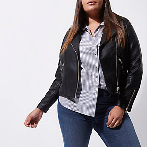 Plus black faux leather biker jacket
