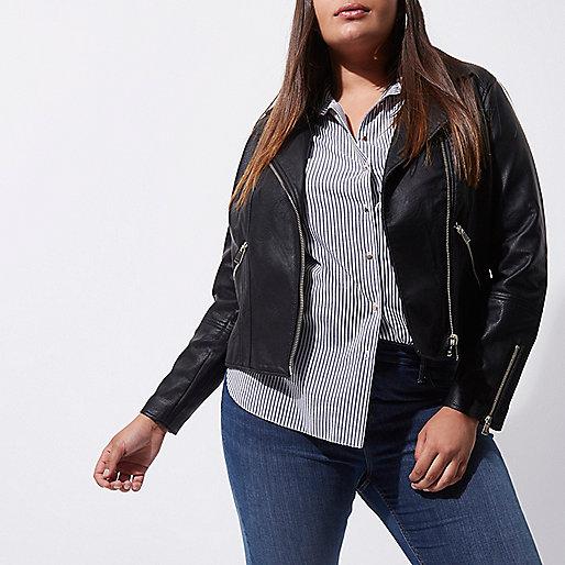 Plus black faux leather biker jacket