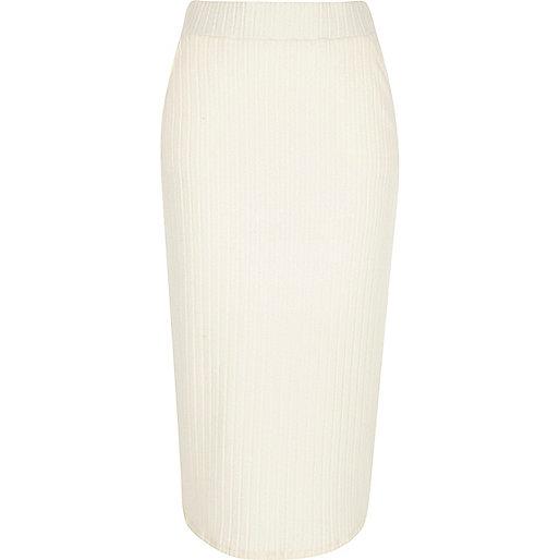 Cream brushed rib jersey midi pencil skirt